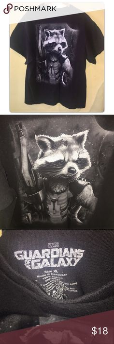 Guardians of the Galaxy ROCKET Shirt  Bundles are always 1/2 off everyday!  Guardians of the Galaxy T Shirt 'ROCKET' Size XL  100% Cotton In good condition.     ✨Bundle any 2 or more items and save 50% off✨  Respectful offers are always welcome. I will not accept offers for less than 1/2 off.   Thanks for looking! Marvel Tops Tees - Short Sleeve