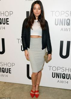 Follower of fashion: Jessica Gomes attends the Topshop Unique show at Tate Modern art gallery for London Fashion Week