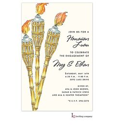Bamboo Tiki Torch Engagement Party Invitations or Summer Tiki Party Invites available at Note Worthy