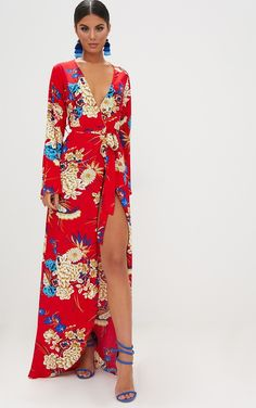 Red Floral Print Kimono Maxi Dress. Dresses | PrettyLittleThing