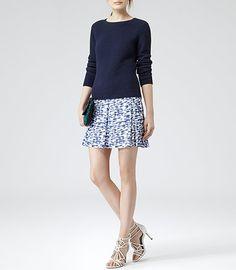 Womens Blue Paintstroke Print Skirt - Reiss Stara