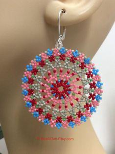 "Seed Bead Earrings, Mandala Earrings, Name: ""Blissfully Bohemian"" Boho Style Earrings, OOAK Jewelry by on Etsy Beaded Necklace Patterns, Seed Bead Patterns, Beading Patterns, Seed Bead Earrings, Seed Beads, Hoop Earrings, Earring Tutorial, Beads Tutorial, Turquoise"