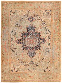 Antique Persian Mohtasham Kashan Carpet 47117