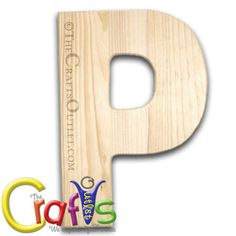 "12"""" Wooden Letter 0.5-inch thick between 8"""" to 11.5"""" wide Letter P unfinished Pinewood letter"