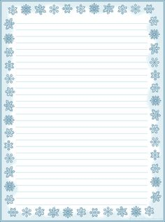 free snowflake border journal page. Printable Lined Paper, Free Printable Stationery, Stationery Templates, Stationery Paper, Templates Printable Free, Pocket Letter, Lined Writing Paper, Borders For Paper, Note Paper