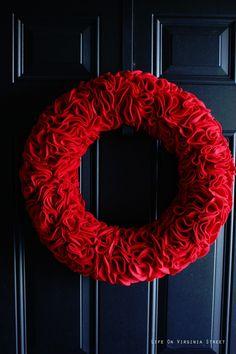 DIY Red Felt Ruffle Wreath - Life On Virginia Street