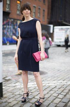 Streetpeeper.com Street Fashion Dress: Blue KAREN WALKER Dress Bag: Pink YSL Clutch Shoes: Black YSL Sandals Photo By: Phil Oh