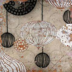 Pendant by Erik Gonzales, mixed media on panel, 60x60