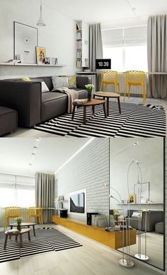 scandinavian living room design ideas striped rug upholstered sofa yellow chairs