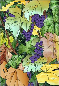 Grapes on the Mind Faux Privacy Stained Glass Clings and Window Films Stained Glass Window Film, Faux Stained Glass, Stained Glass Panels, Stained Glass Patterns, Leaded Glass, Fused Glass, Window Cling Film, Window Films, Window Clings