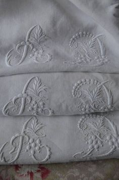 Victorian monogrammed linens.  Unusual to find a set still intact.