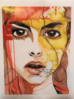 watercolor portrait painting fashion illustration coral yellow drawing face art print art gift wall art decor poster girl colorful