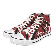"""Eddie Van Halen """"Red/Black/White Striped"""" High Top Sneakers"""