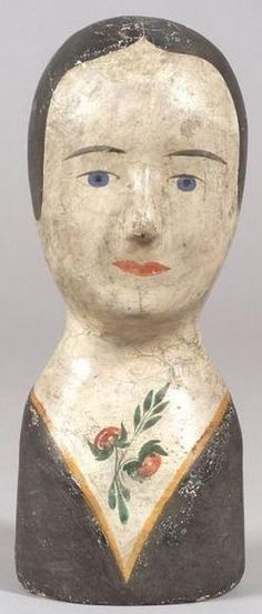 Origin: France Year: 1801 - 1900 A Papier-Mache milliner's female head [paper mache milliner's model], probably France, early century. The bust-length model with painted facial features, hair, and dress neckline ornamented with a flower sprig. Paper Mache Clay, Paper Clay, Paper Art, Doll Head, Doll Face, Collages, Vintage Mannequin, World Crafts, Hat Stands