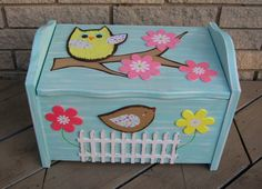 Woodland Owl Small Toy Box - Natural Solid Wood - Hand-painted