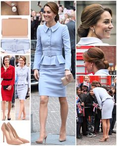 CATHERINE WALKER  Netherlands - Oct 2016  Bespoke: classic peplum skirt-set in powder-blue wool-crepe (with a peter-pan collar, notched-cuffs, self-belt and pencil-skirt). Gianvito Rossi: Praline suede point-stilettos ($675). LKB: Nina patent-trench box-clutch (£185). HM's: diamond-stud and pearl-drop earrings.