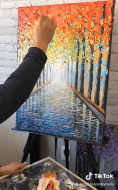Easy Landscape Paintings, Scenery Paintings, Abstract Tree Painting, Autumn Painting, Acrylic Painting Techniques, Knife Painting, Process Art, Painting Process, Cool Art Drawings