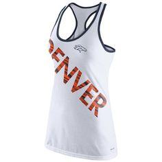 Women's Nike White Denver Broncos Warp Tri-Blend Performance Tank Top