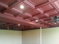 Merlot Madison Ceiling Tiles make a bold ceiling statement. Elegant, Tiles, Basement Ceiling, Suspended Ceiling Panel, Ceiling Lights, Coffered Ceiling, Home Decor, Ceiling Tiles, Decorative Ceiling Tile