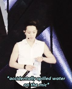 So cute! just look at his face when he spill water on the mircophone #exo #xiumin #gif