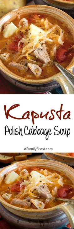Kapusta (Polish Cabbage Soup) - A Family Feast Kapusta Recipe Polish, Polish Cabbage Soup Recipe, Polish Rye Bread Recipe, Cabbage Soup Recipes, Cabbage Soup Sausage, Cabbage Stew, Cabbage And Potatoes, Chicken Sausage, Polish Food Recipes