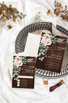 Boho Chic Wedding Invitation Suite, Pink Floral Wedding Invitation Set, String Lights, Wood, Blush Flowers, Corjl Editable Template 208 Wedding Suite, Chic Wedding, Elegant Wedding, Modern Wedding Invitations, Floral Wedding Invitations, Reception Signs, Rustic Shower, Blush Flowers, Invitation Suite