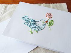 Geborduurde vogelkaart gemaakt door La Creature and youKlik hier voor de werkbeschrijving