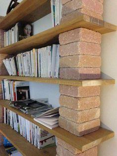 Home Design Diy, House Design, Brick Shelves, Shelving, Diy Furniture Projects, Woodworking Furniture, Pallet Furniture Tv Stand, Cocktail Table Decor, Living Room Update