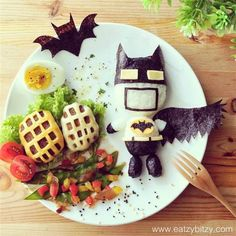 Fun with food: Cool plates turn mom into Instagram star. Rice, cheese and seaweed helped create this Batman.