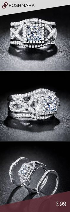 925 Silver princess cut white sapphire 3pc Set 925 silver princess cut white sapphire wedding 3pc ring size 6 Jewelry Rings #weddingjewelry