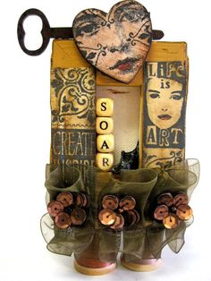 SOAR Art Doll Assemblage Mixed Media Altered Art