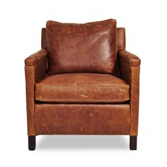 The Heston gives an urban edge to the classic leather chair, featuring a cognac-hued exterior offset by careful distressing. Handcrafted from sustainably sourced wood, its black-walnut legs and wide, cushy seats make this piece a handsome addition to any room.