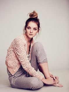 Free People Lace Bomber Jacket Cream Beige Zip Front X-Small Estilo Fashion, Ideias Fashion, Ss16, Looks Style, Style Me, Lounge, Facon, Outerwear Jackets, Bomber Jackets