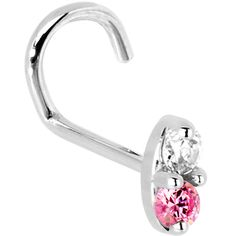 20 Gauge LEFT Nostril - 14K White Gold 1.5mm Genuine Pink Sapphire Diamond Marquise Nose Ring | Body Candy Body Jewelry