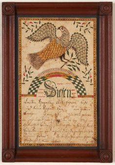 Fraktur Drawing, Spread-winged Eagle