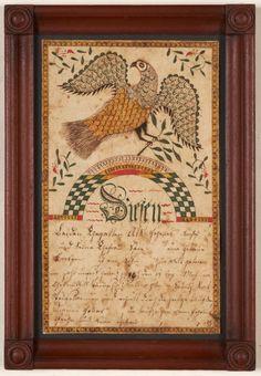 Fraktur Drawing, Spread-winged Eagle