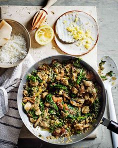 This vegetarian risotto by Jasmine and Melissa Hemsley uses quinoa instead of rice because it's more nutritious. This makes the dish higher in protein than it would have been if normal rice was used. The quinoa is combined with mushrooms, spinach and plenty of lemon.