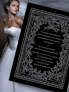 black and silver wedding dress | Elegant Vintage Gray and Black Wedding Invitations - Invitation Ideas ...