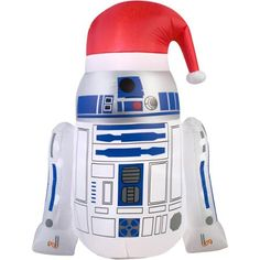"""4'6"""" Airblown Inflatable R2D2 with Santa Hat Star Wars Christmas Inflatable"""