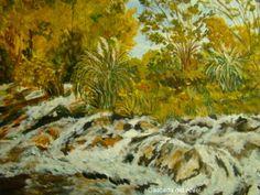 CASCADA DEL ATUEL Painting, Art, Waterfalls, Scenery, Art Background, Painting Art, Kunst, Paintings, Performing Arts
