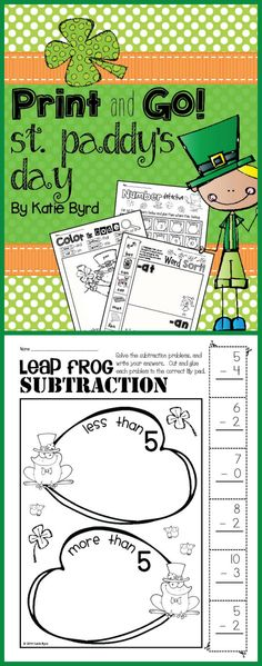 """Save yourself some time and ink with these easy NO PREP activities.  This set of fun interactive skills practice pages is perfect for the month of March in kindergarten even if you don't """"do"""" St. Patrick's Day. $"""