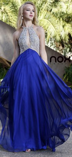 Empire Waist Chiffon Flowy Pageant Gown Royal Blue Rhinestone Top (2 Colors Available) #discountdressshop #royalblue #prom #promgown #promdress