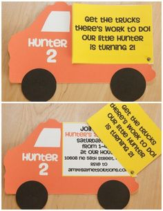 Adorable boy's party invites!  The dump trailer swings open to reveal the party details.