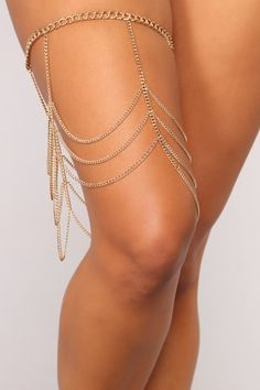 Available In Gold Thigh Chain Drape Detail Full Chain Body Multi Layer Body Chain Jewelry, Body Jewellery, Gold Jewelry, Jewelery, Jóias Body Chains, Leg Chain, Piercings, Bronze, Body Chains