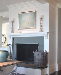 Beach House – New Construction – traditional – living room – boston – Molly Frey… – Freestanding fireplace wood burning Slate Fireplace Surround, Candles In Fireplace, Small Fireplace, Farmhouse Fireplace, Fireplace Hearth, Home Fireplace, Living Room With Fireplace, Fireplace Surrounds, Fireplace Design