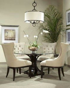 Delicieux Classic Glass Round Table Dining Room Set Love These Chairs.