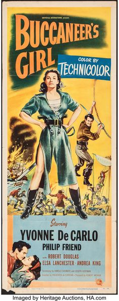 World's Largest Collectibles Auctioneer Iconic Movie Posters, Iconic Movies, Old Movies, Vintage Movies, Yvonne De Carlo, Robert Douglas, New Poster, Disney Marvel, Pulp Art