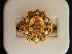 Genuine Topaz & Gold Antique Ring, oddly enough love! This beautiful antique topaz ring <3!
