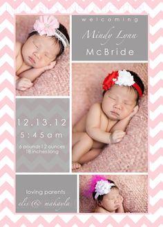 Chevron Birth Announcement / Girl or Boy / Pink and Grey / Any Color Chevron / Lsu Birth Announcement / Digital File 5x7 via Etsy