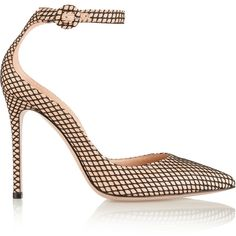 Gianvito Rossi Leather and fishnet pumps ($785) ❤ liked on Polyvore featuring shoes, pumps, heels, gianvito rossi, neutrals, ankle wrap pumps, pointed-toe pumps, leather pointed toe pumps, ankle strap shoes and high heel pumps